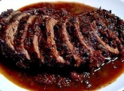 Brasato al Barolo, Braised Beef in Barolo Wine. Famous food of Turin.