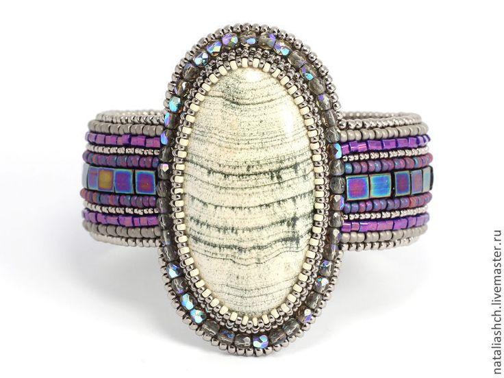 Купить Браслет и серьги, вышивка бисером, с камнями и сваровски, фиолетовый - фиолетовый, комплект украшений