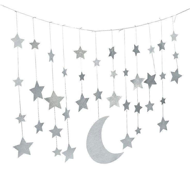 Camp Glam Glitter Moon & Stars Garland - OrientalTrading.com 7 feet for $8.25