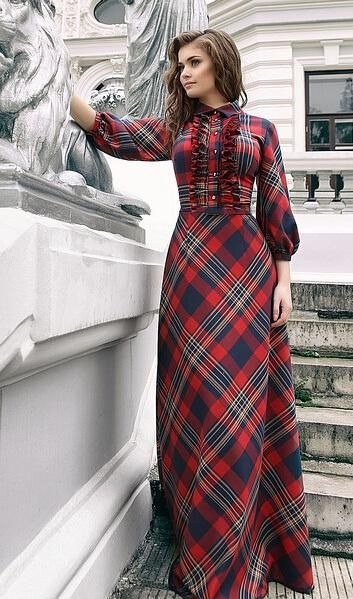 Maxi Plaid Dress 2015 Year Summer Style New Fashion Female 3/4 Sleeve Red Green Long Floor Length Womens Plus Size Clothing From Allmaker02, $29.08 | Dhgate.Com