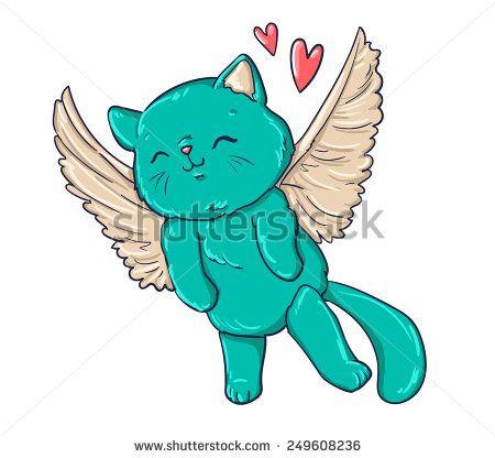 cat, wings, vector, illustration, cupid, heart, pet. flight. Cupidon, angel