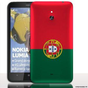 Coque pour Telephone Portable Nokia Lumia 1320   Design Drapeau Portugal   Coque arriere a clipper sur cache Batterie. #Portugal #Coque #accessoire #NokiaLumia1320