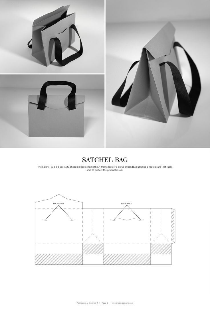 Satchel Bag – structural packaging design dielines