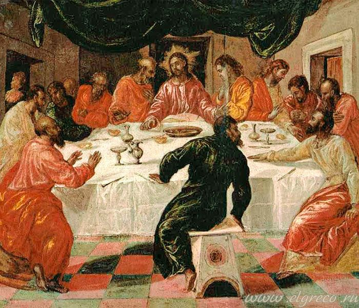 «Тайная вечеря» Доменико Эль Греко. 1567-1570. Масло, дерево. Доменико Теотокопули (Эль Греко). Национальная картинная галерея, Болонья.