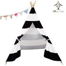 LoveTree Вигвама Черные и Белые Полосы Хлопковое Полотно Типи Индейцев Палатка Четыре Полюса Вигвама Палатка Дети палатка(China (Mainland))