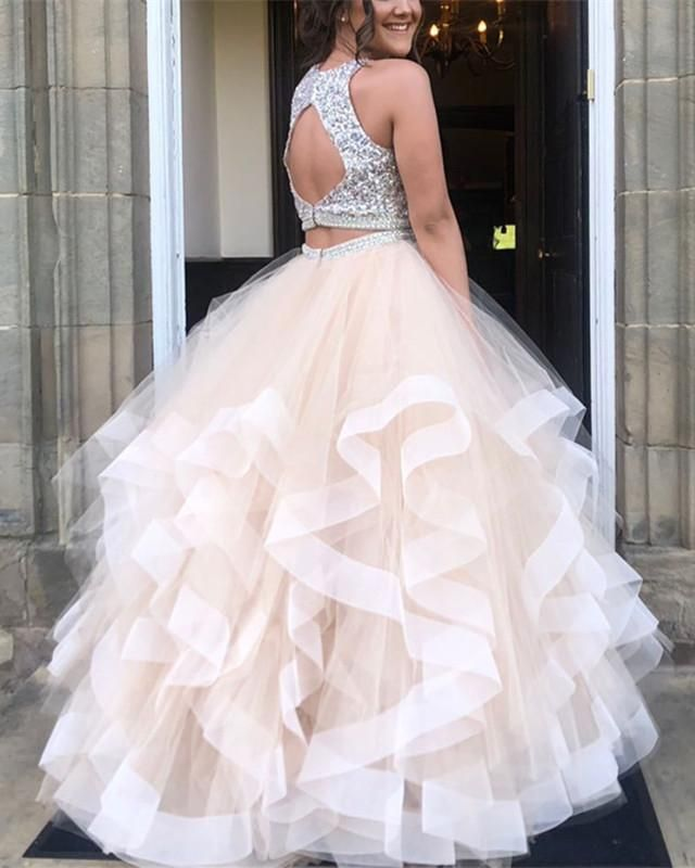 e82a08a3 Item Description : A Glamorous Ball Gowns Dress Featuring Sequin Beaded Top  And Keyhole Back Design With Ruffles Skirt. Perfect For Prom,Evening,Formal  ...