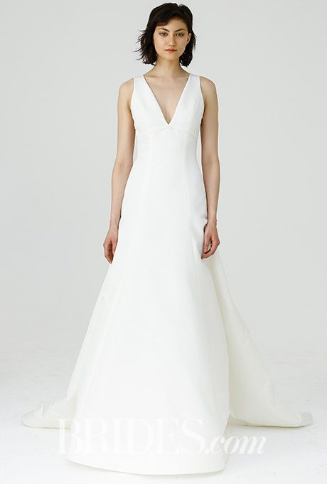"""Brides.com: . """"Keaton"""" Faille de Soie fit-to-flare gown with sheer organza back with buttons, Amsale"""
