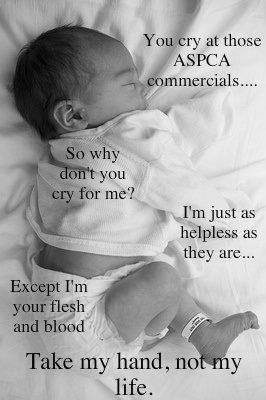 Another Pinner said:  They should make the ASPCA commercials but with babies. #ProLife