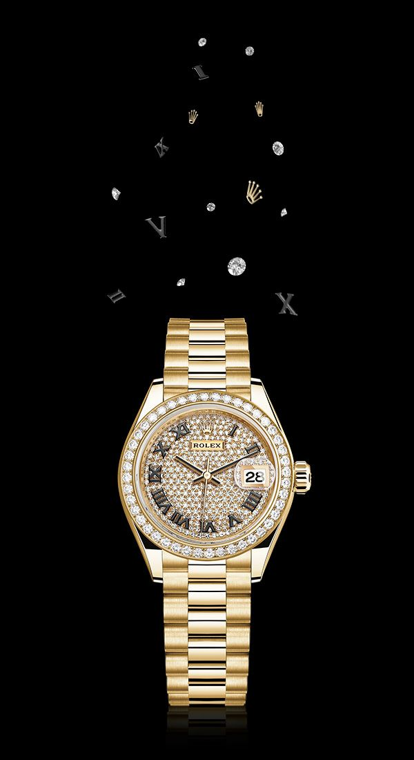 Inspiration For The Season The Rolex Lady Datejust In Yellow Gold And Diamonds 28mm Case Diamond Paved Dial Pres Rolex Rolex Watches Luxury Watches For Men