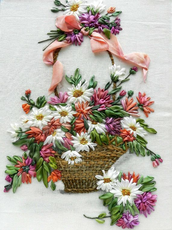 Basket silk ribbon embroidery by StudioSilkRose on Etsy