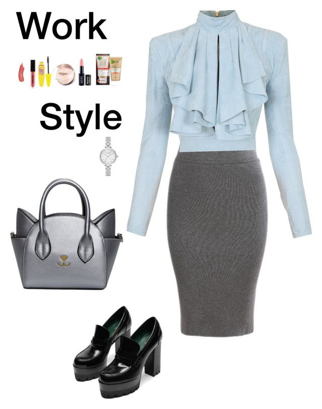 """Work Style (2)"" by irisazlou on Polyvore featuring mode, Balmain, Kate Spade, Garnier, NYX et Maybelline"