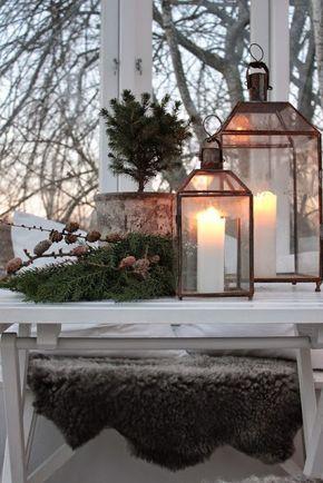 Swedish Farmhouse Christmas Decorating Ideas. #holidaydecorating #christmasdecorations #lanterns #lanterndecor #winterinspiration #holidaydecorideas