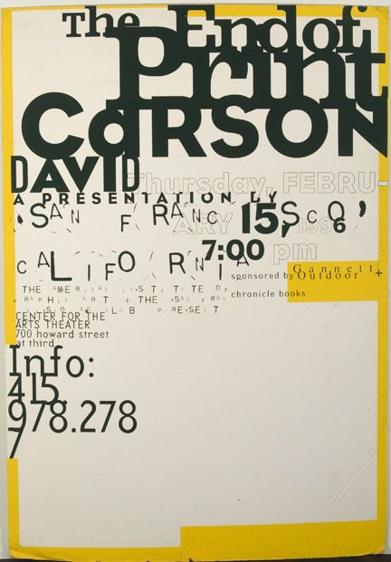 david carson the use of typeography and the way the text overlap eachover giving it more of a feel of a poster design