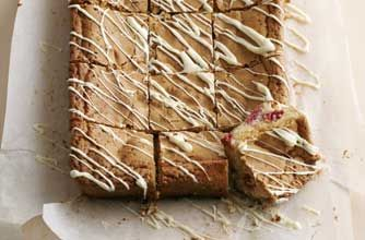 White chocolate and raspberry blondies recipe - goodtoknow This is a yummy dessert.