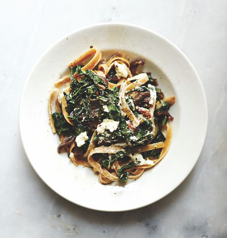Fettuccini With Kale, Caramelized Onions and Goat Cheese - dinner recipe.