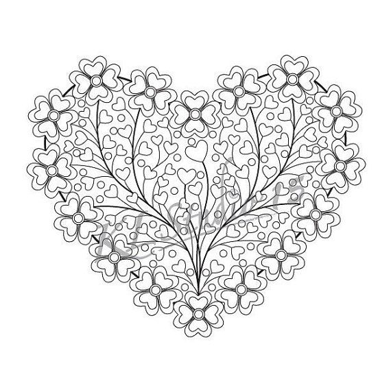 Valentine Coloring page, Instant Download, Relax Mandala ...