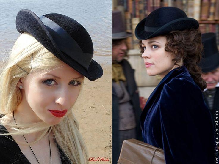 """Купить Дамский котелок (мини) """"Ирэн"""", велюр - черный, шляпка, шляпа, шляпа котелок"""