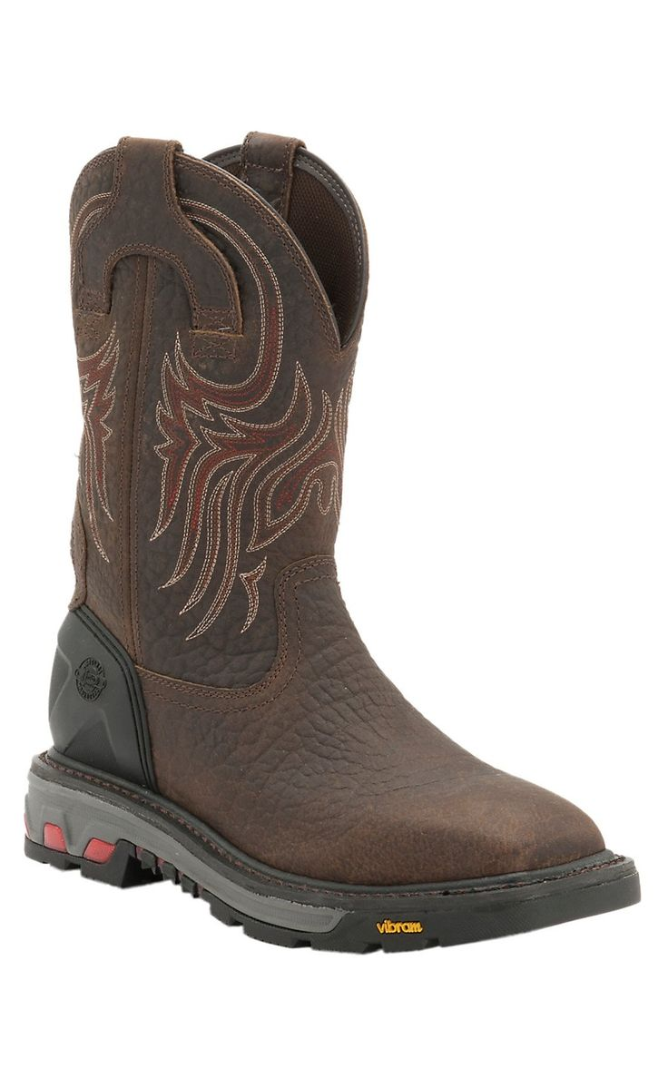 Justin Commander X5 Men's Tumbled Mahogany Square Steel Toe Waterproof Pull On Work Boots | Cavender's