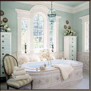 Barry Dixon chose a tinted belljar for this elegant bathroom.