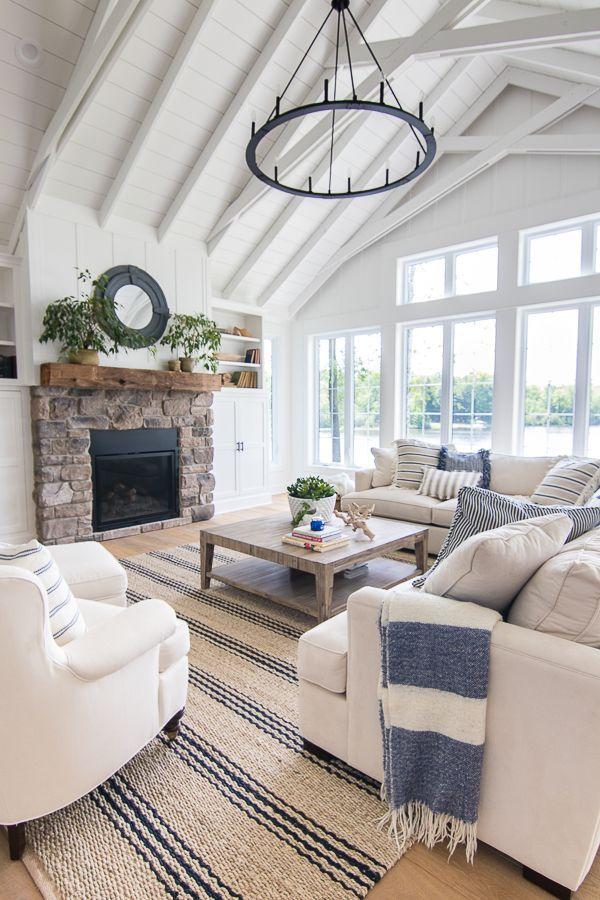 Lake House Blue And White Living Room Decor The Lilypad Cottage Farm House Living Room Blue And White Living Room Modern Farmhouse Living Room #white #living #room #designs
