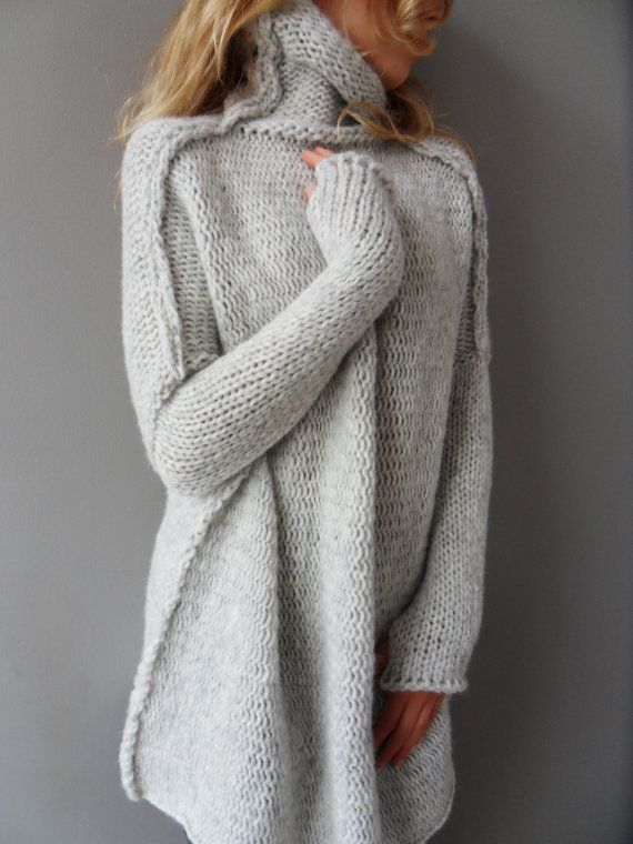 Oversized, Chunky knit woman sweater. Slouchy/Bulky/Loose knit sweater.Light grey sweater. Made to order.