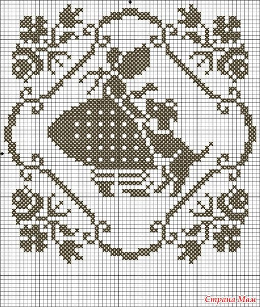 Схемы филейного вязания картин, занавесок.