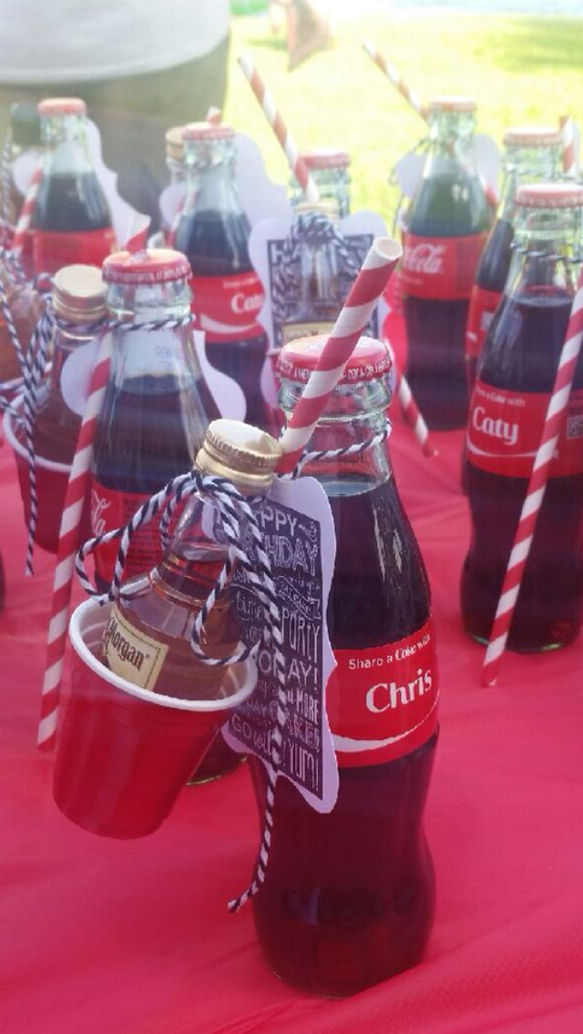 Coca-Cola Party Favor     Cokes purchases thru Share a Coke website.  Straws, twine, birthday stamp And tags from Hobby Lobby  Miniature liquor bottles $1 each and mini red solo cups from Total Wine.