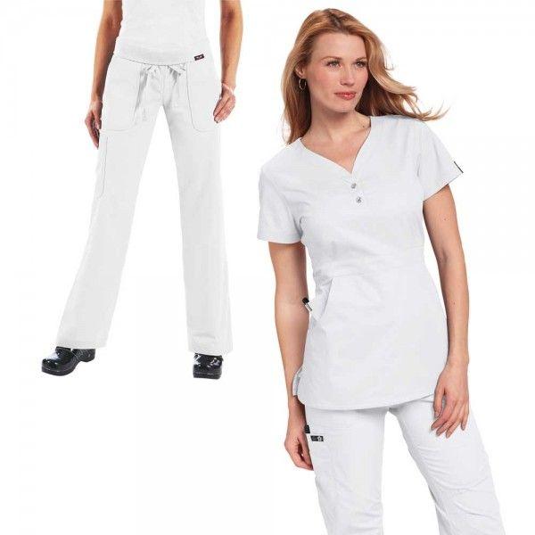 Koi Justine Set in White. Set Consists of Koi Justine Top:  • Longer length  • 2 large pockets  • Button detail    Koi Morgan Trousers:  • Drawstring waist  • Rib-trim waistband  • 5 pockets  £55  #medicalscrubs #nursescrubs #dentistscrubs #nurses #dentists #whitescrubs #nurseuniform