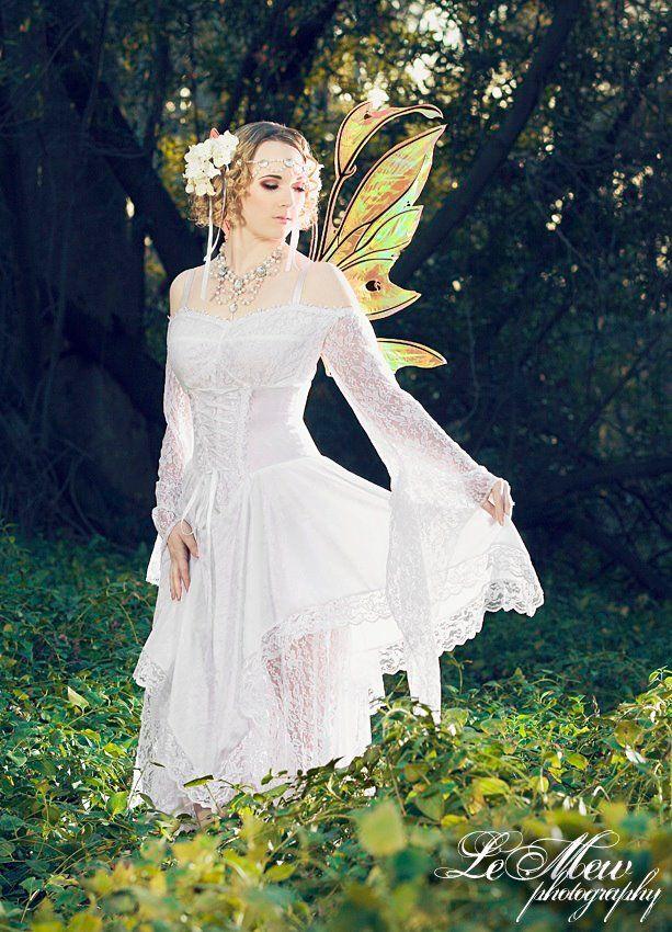 Shorter gwen fairy style dress fantasy wedding dresses for Fairy inspired wedding dresses
