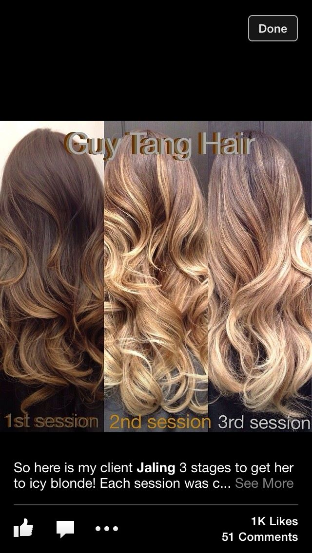 Ombre/Bayalage. This makes me think it would be possible for me to go blonde. I've always wanted to try, and my hair is about the shade of the brown on the left. hmmm