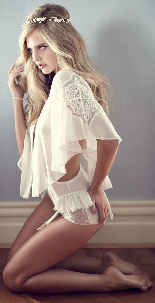 Chateau L'amour White Satin Bridal Lingerie Suit