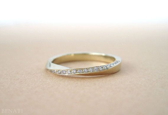 Mobius diamond ring Diamond mobius ring Gold mobius by Benati