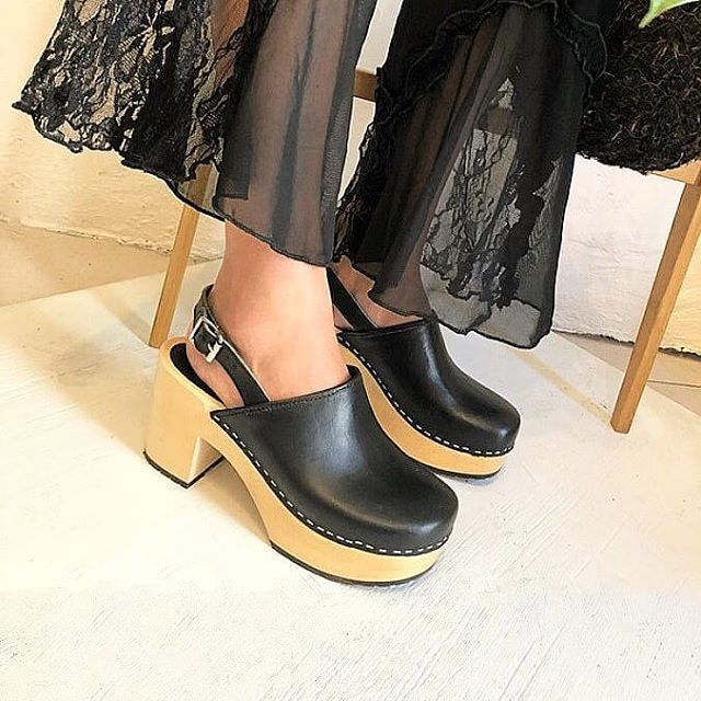 6c3911aed76 Shop the Swedish Hasbeens Jill Plateau Clog in Black Leather Get them  online or at any
