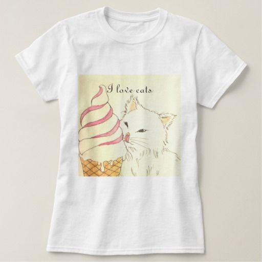 I love cats 【アイスクリームと猫ちゃん】レディースベーシックTシャツ T-シャツ