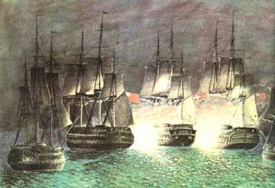 Battle at Sjællands Odde the 22. marts 1808, between the Danish ship of the line Prins Christian Frederik (66 cannons) and five English ships, to English ship of the line STATELY and NASSAU (ex. danish Holsteen) and also tree frigates. After three hours of fighting and nearly 200 wounded and dead, captain C.W. Jessen ran the badly damaged Danish ship a ground and burned it.