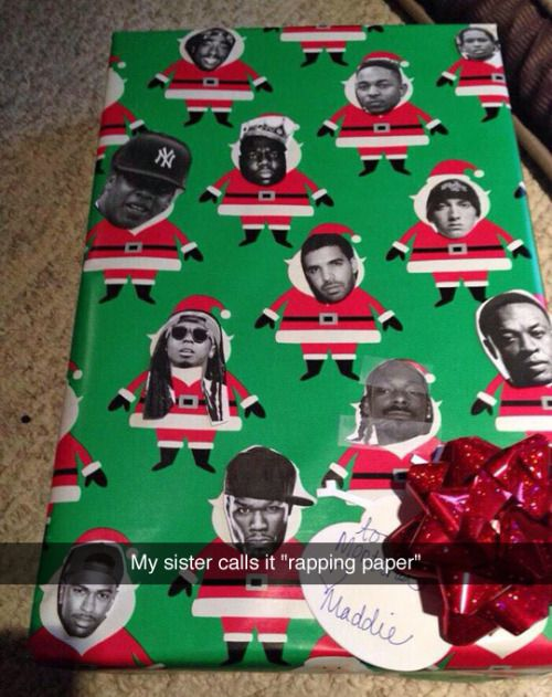 "Funny way to present your gift with customized wrapping paper.  In this case it really is ""rapping"" paper!"