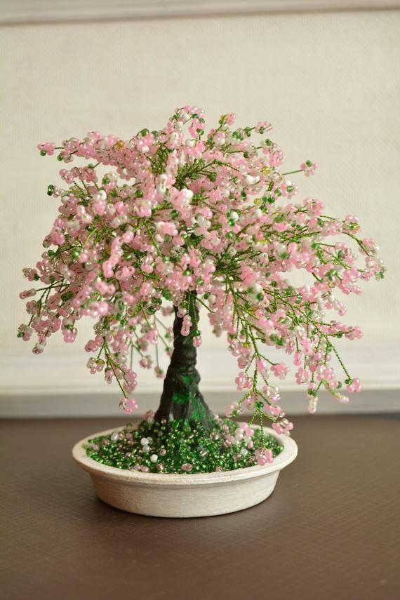 Cherry Blossom Bonsai Trees Sakura Beaded Bonsai Tree Wire Etsy Cherry Blossom Bonsai Tree Wire Tree Sculpture Tree Sculpture
