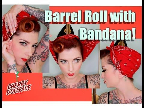 EASY Vintage Hair! Barrel Roll with Bandana! by CHERRY DOLLFACE – YouTube