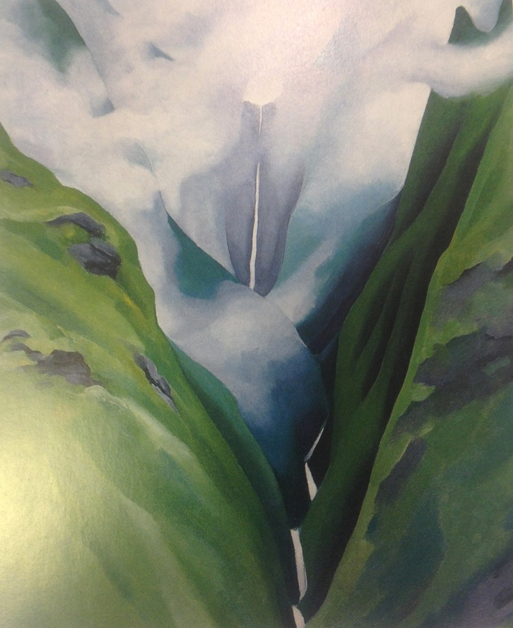 Our favorite! // Waterfall, No III, Iao Valley, Georgia O'Keeffe, Oil on Canvas, 24 x 20 Inches, 1939, Honolulu Academy of Arts, CR 981.
