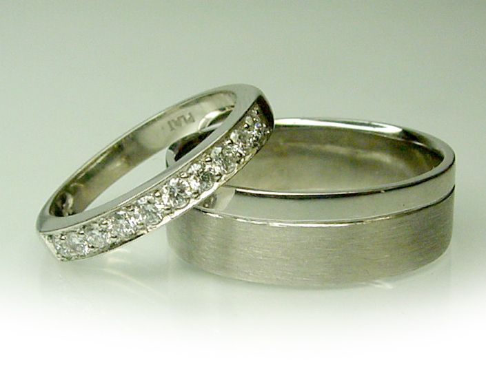 Hand made his and hers wedding rings in Platinum and Gold