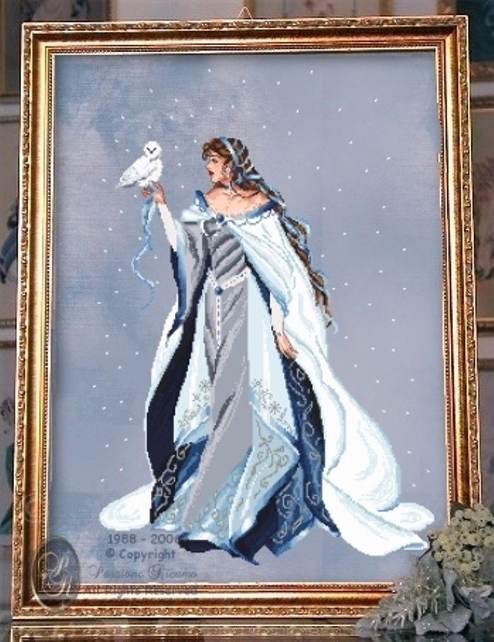 """COMPLETE X STITCH MATERIALS /""""MY LADY OF THE SNOW RL24/"""" by Passione Ricamo"""