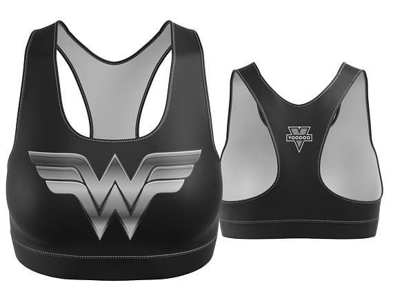 Custom Wonder Woman Sports Bra Black with Silver Breastplate | Yoga Bra | Women's Bra | Yoga Top | Gym Bra | Yoga Wear | Gym Bra | Exercise Bra | Workout Top | Bikini Top | Plus Size Bra | Bra | SportsBra | Work Out Bra | Gym Wear | Super Hero Bra | DC Comics |  Made in the USA. -Custom Sports Bra designed, printed, cut and sewn to order in Phoenix, AZ -Great gift for her -82% Polyester / 18% Spandex blend. -4 way stretch which means fabric stretches and recovers both on the cross and le...