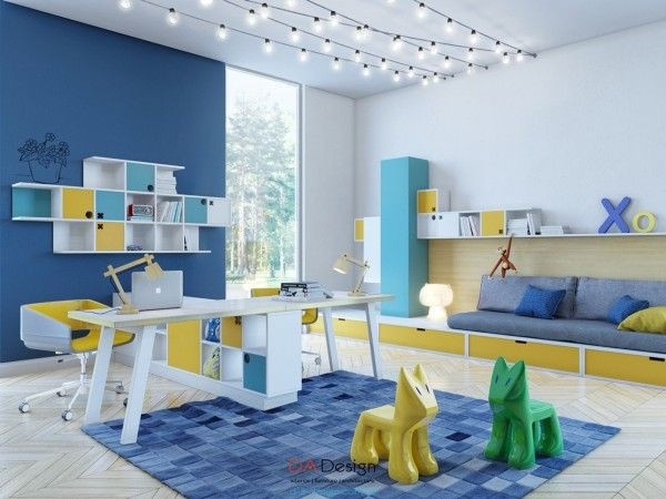 Colorful kids room designs with plenty of storage space