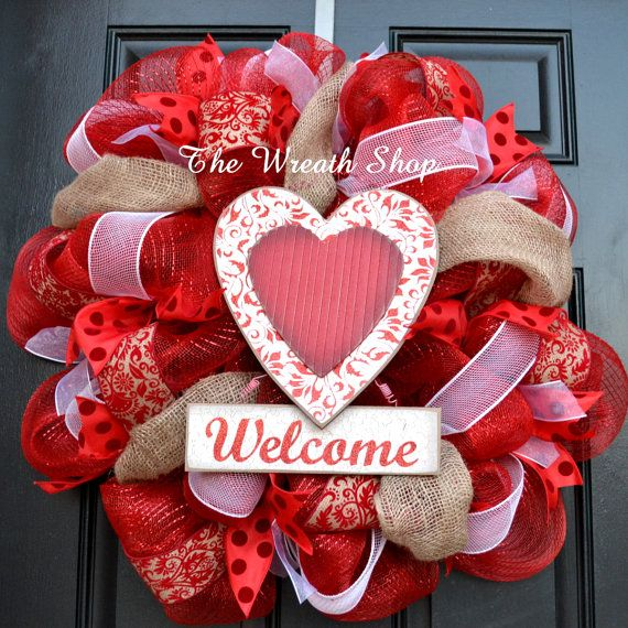 Mesh Valentine's Day Welcome Wreath  by CreationsbySaraJane
