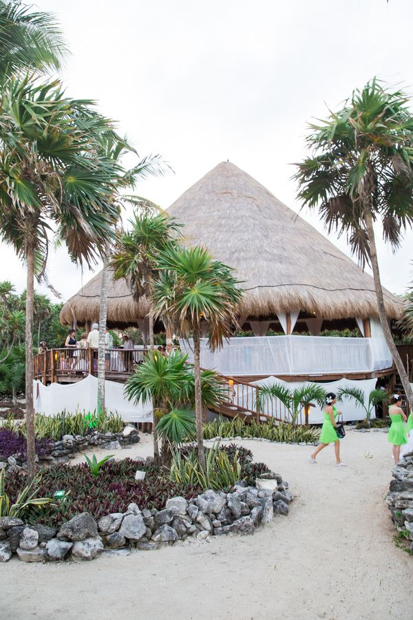 Check out the exotic #Palapa at the Grand Sirenis Riviera Maya where Sara and Brant shared their first dance as #newlyweds! | Photos courtesy of Willow Lane Photography #mexico #wedding #destinationwedding #neonwedding #reception
