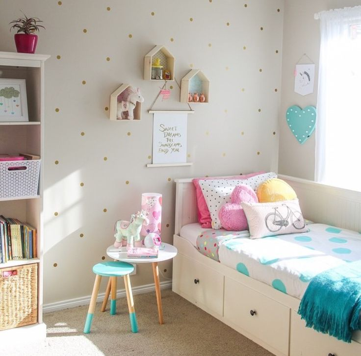 Cute child's bedroom with under bed storage.