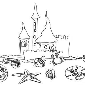 Beach Vacation A Kids Drawing Of Beach Sand Castle Coloring Page