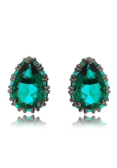 semi-joias-brinco-de-gota-pedra-verde-esmeralda-rodio-negro ... 7ce7fade59