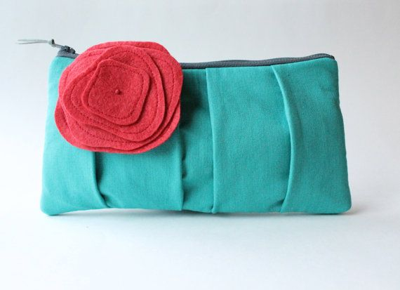 Clutch Purse Teal and Red Flower Brooch by allisajacobs on Etsy, $55.00