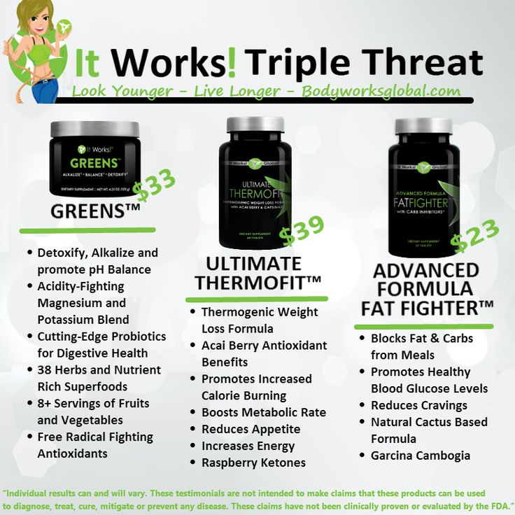 Latest in weight loss It Works Triple Threat Ultimate Weight Loss Program. Triple Threat 90 day Challenge - It works greens, It Works ThermoFit Fat Fighters
